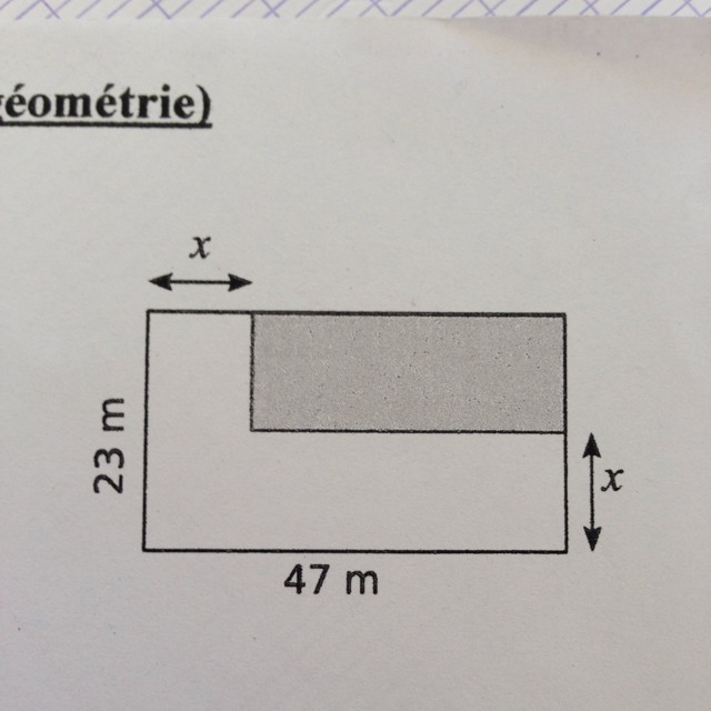 1 a calculer l 39 aire du rectangle color en fonction de x b en d duire l 39 aire du rectangle. Black Bedroom Furniture Sets. Home Design Ideas