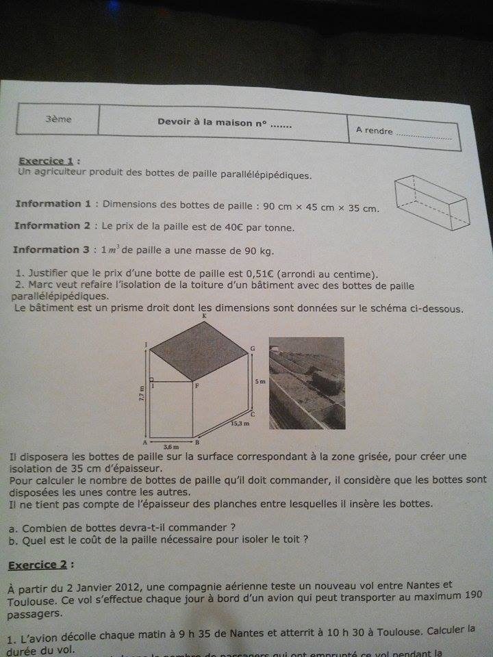 devoir de maths 3eme