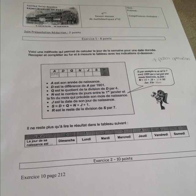 J'AI UN DM DE MATH C'EST UN DM NIVEAU 6eme - Nosdevoirs.fr