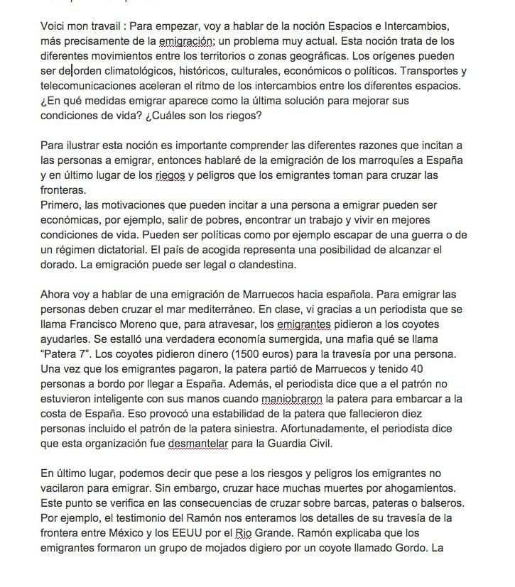synthese espagnol espacios e intercambios