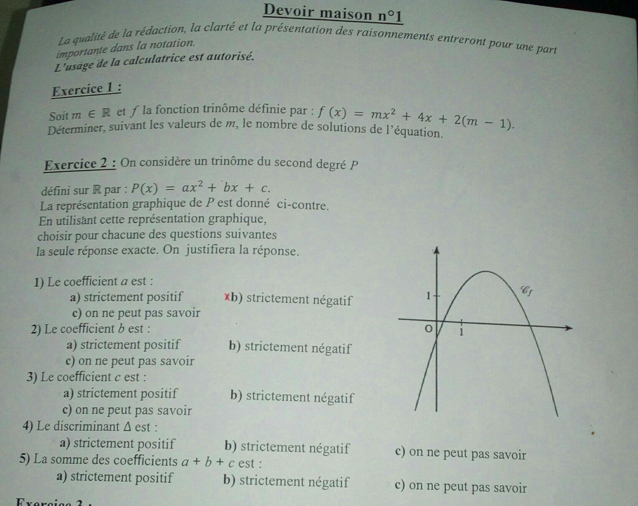 Bonjour J Ai Un Dm En Maths A Rendre Sur Le Second Degre 1ere Es Pouvez Vous M Aider S Il Nosdevoirs Fr