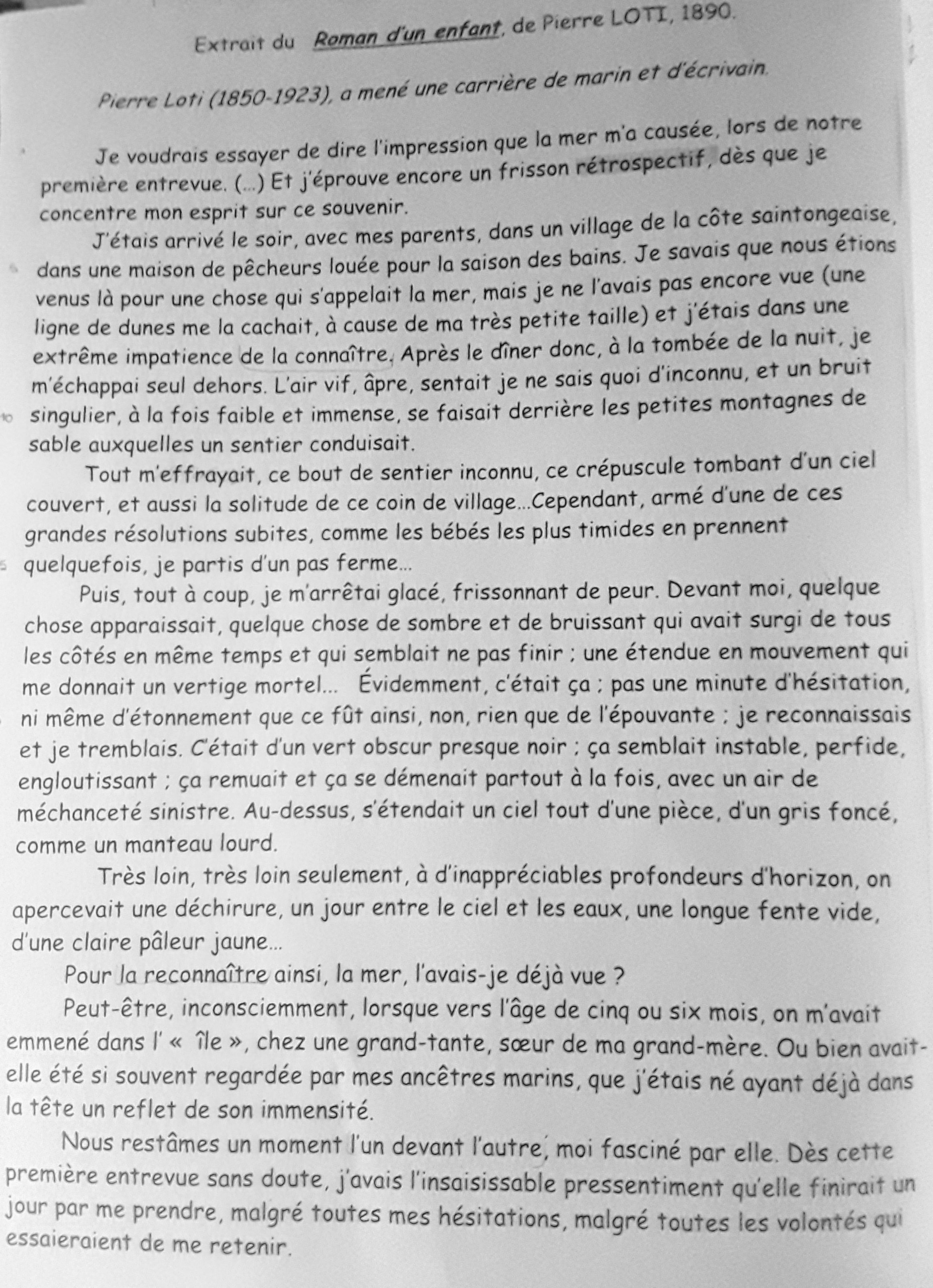 Bonjour,je suis en 4eme et j'ai une rédaction de français ...