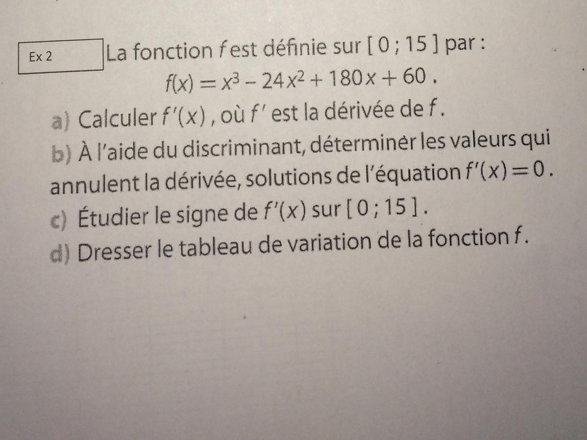 Exercice De Maths Sur Le Second Degre 1ere Stmg A Rendre Pour Demain Aidez Moi Svp Nosdevoirs Fr