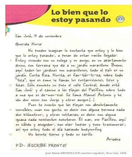 ecrire une lettre en espagnol seconde