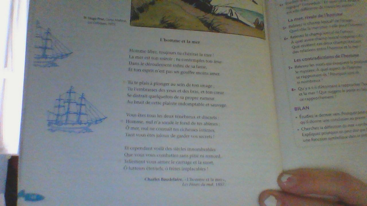Coucou Quel Est Le Champ Lexical De Image Dans L Homme Et La Mer De Charles Baudelaire Mercii Nosdevoirs Fr