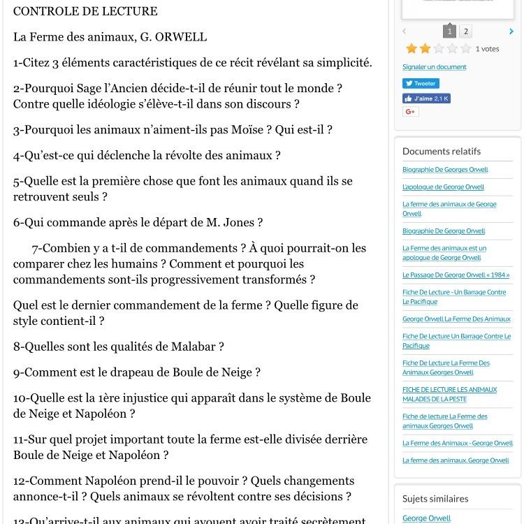 Bonjour J Ai Lu Le Livre La Ferme Des Animaux De George