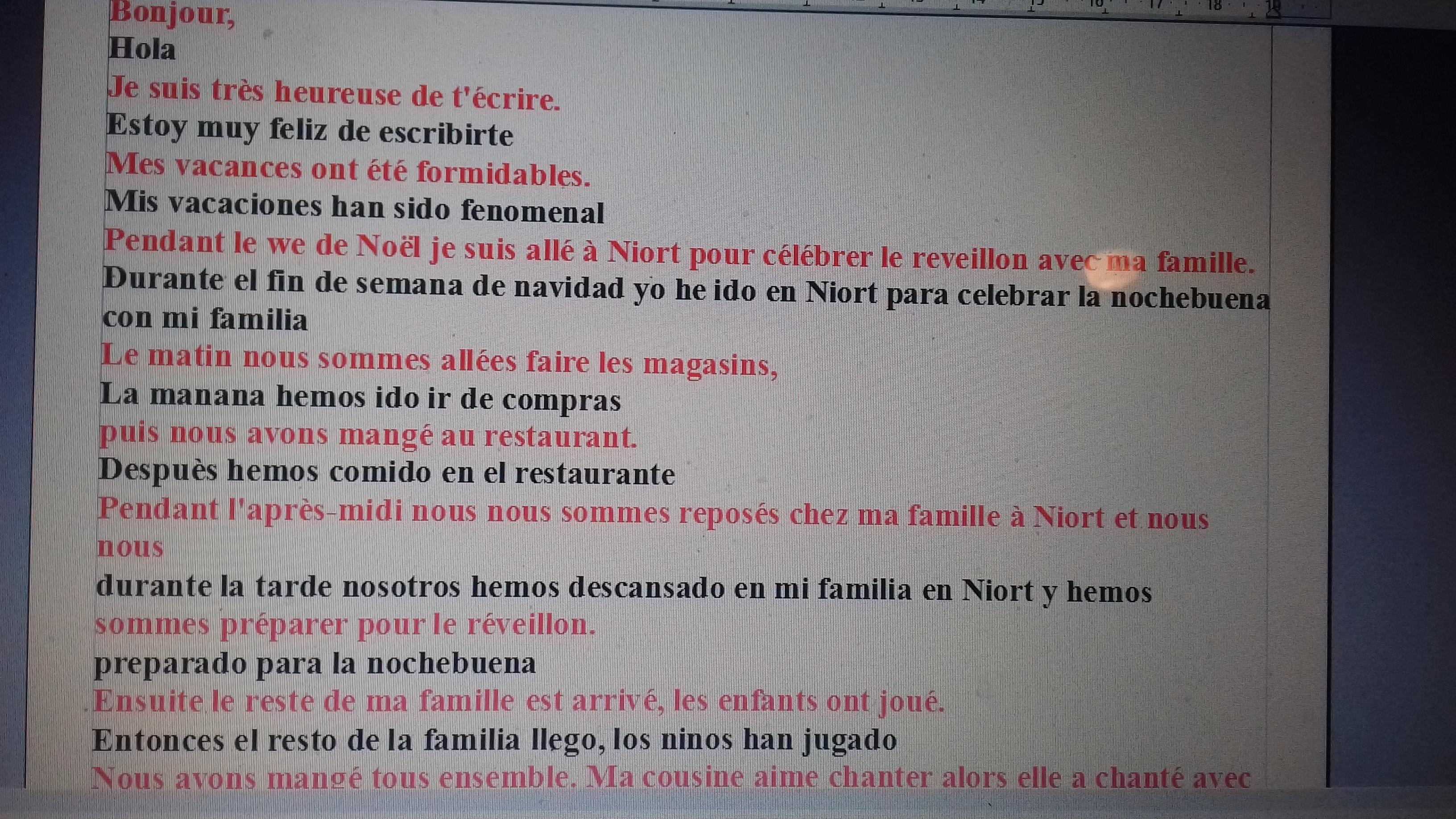 Pour Lundi Je Doit Faire Une Lettre En Espagnole En Utilisant Le Passe Compose Je L Ai Faite Mais Nosdevoirs Fr