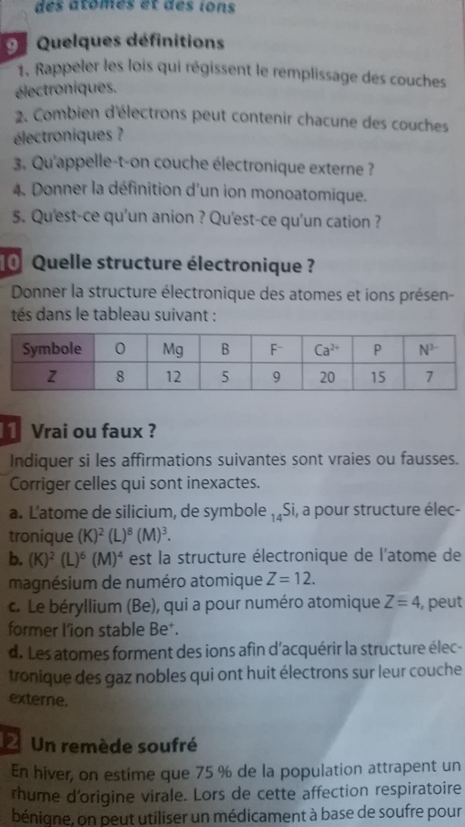 Donner La Structure Electronique Des Atomes Des Ions Presentes Dans