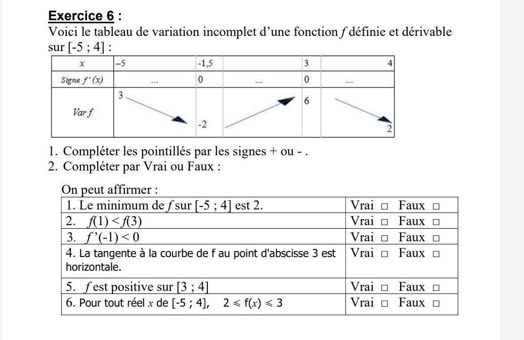 Bonjour Je N Arrive Pas A Faire Cet Exercice De Maths Sur Les Fonctions Derivees Je Suis En Nosdevoirs Fr