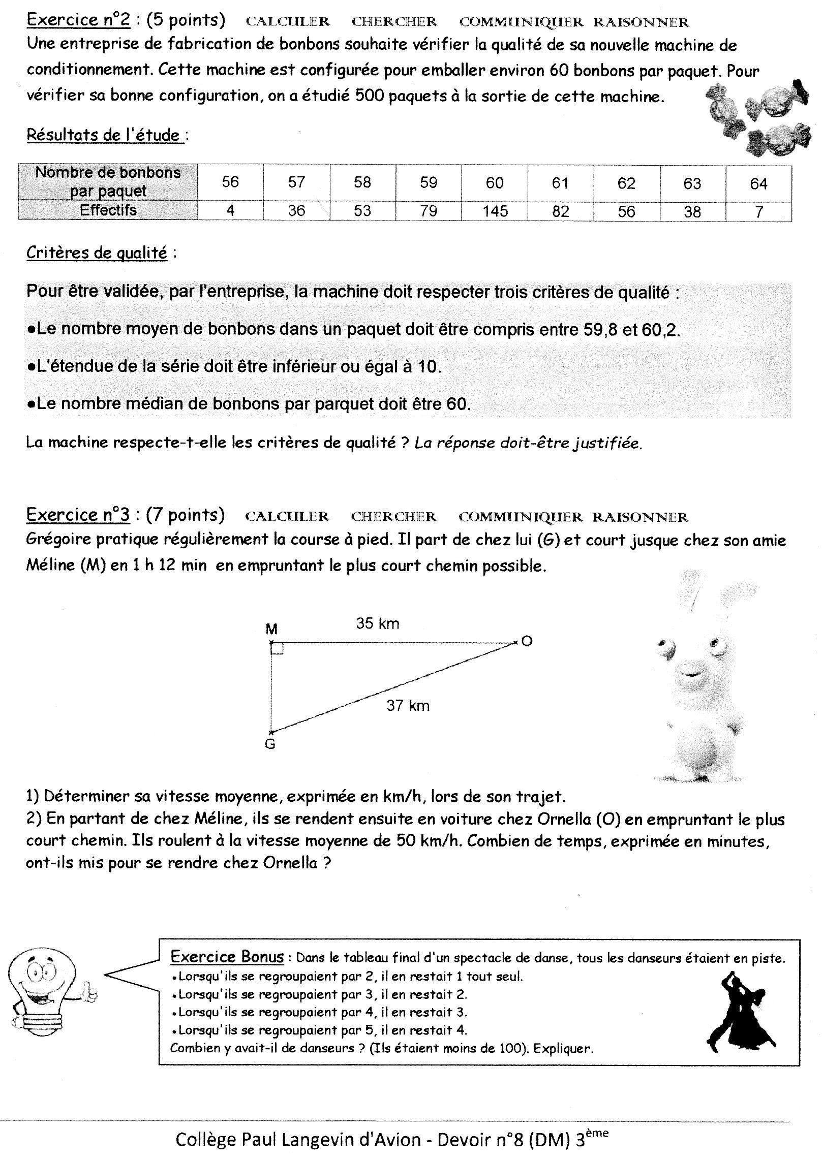 Exercice n°1 du dm de maths n°12 Vitesse, temps,... 3ème Mathématiques
