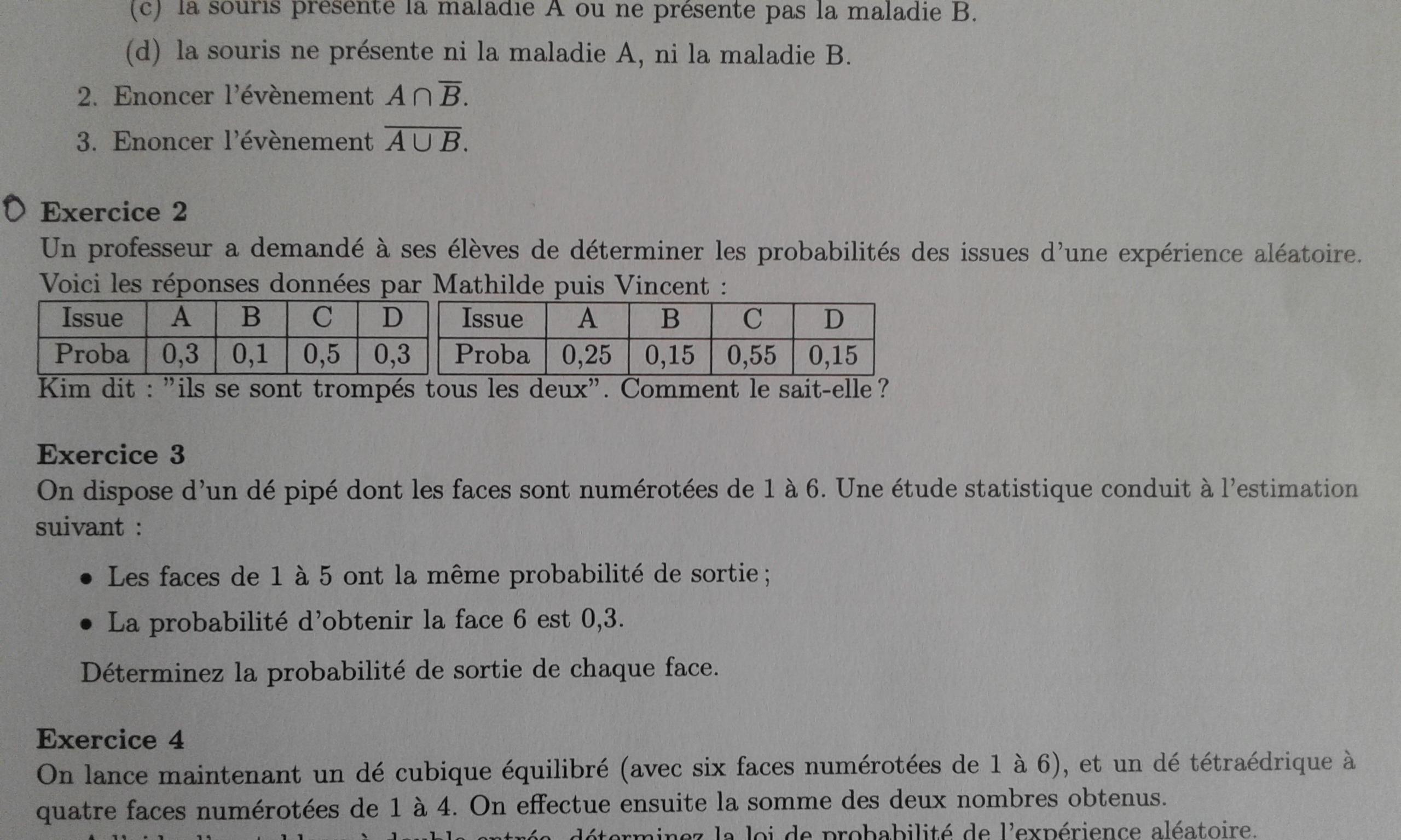 Bonjour J Ai Un Exercice A Faire En Maths Niveau Seconde Sur Les Probabilites Pour Apres Demain Nosdevoirs Fr