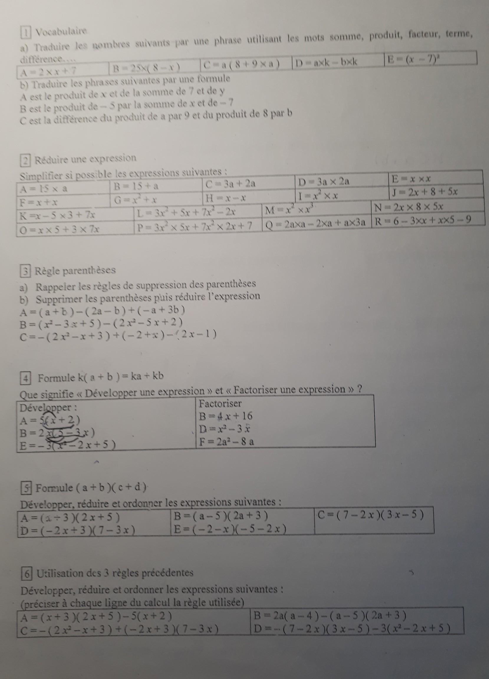 Svp Pourriez Vous Me Resoudre Ces Exercices De Maths Sur Le Calcul Litteral De 4eme Merci Nosdevoirs Fr
