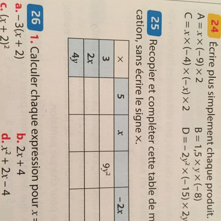 Recopier Et Completer Cette Table De Multiplication Sans Ecrire