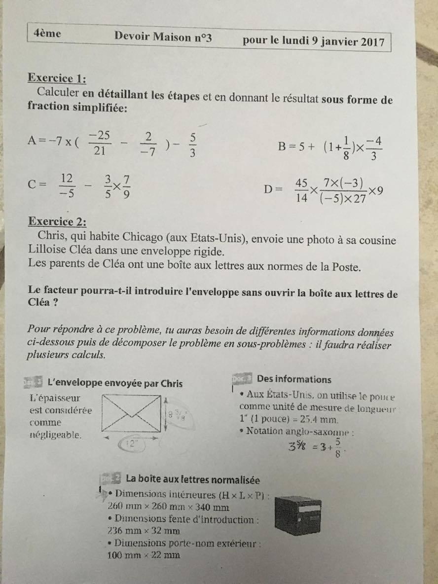 Pour demain Exercice 1 du dm n° 20 3ème 3ème Mathématiques