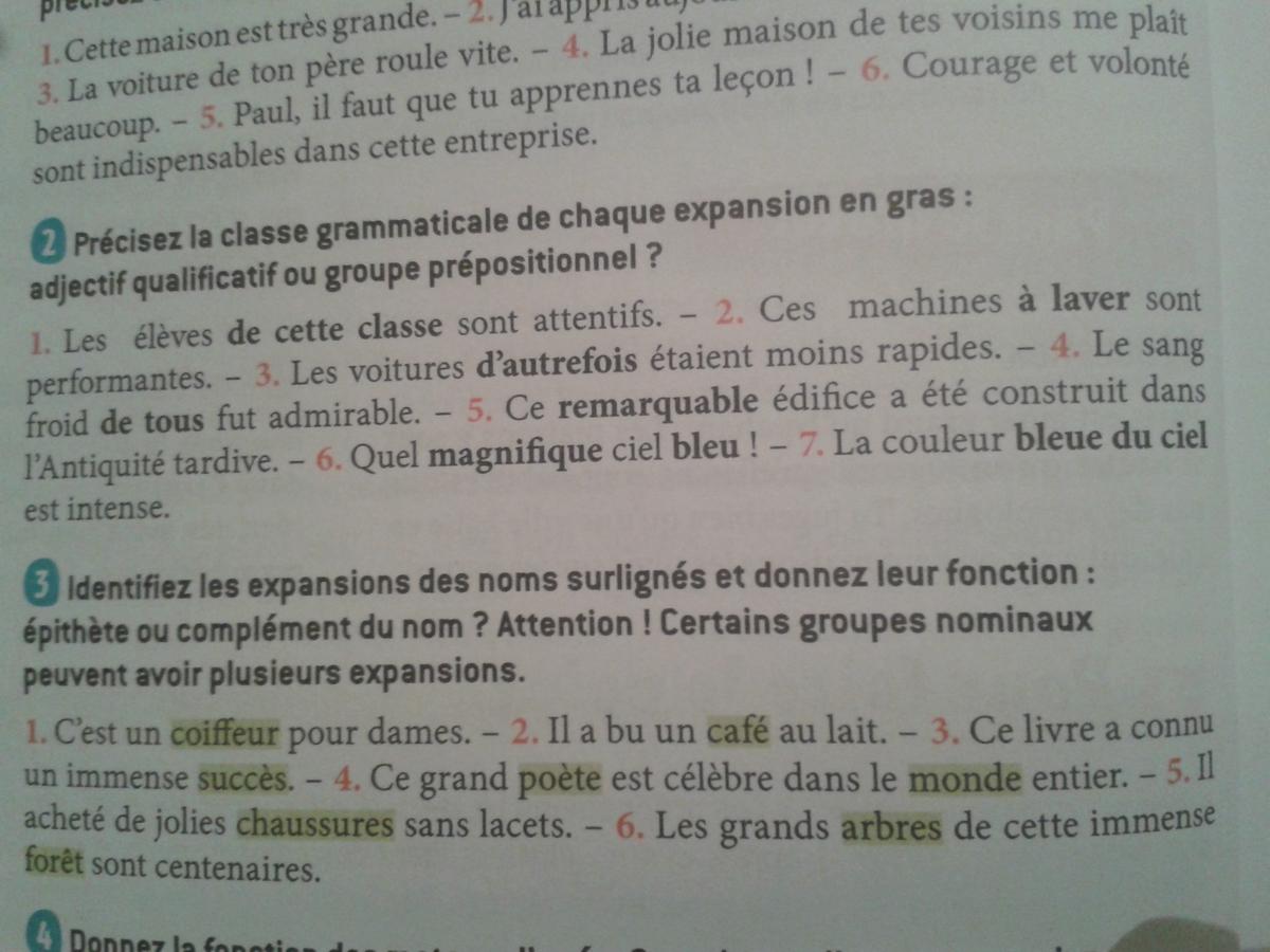 le groupe nominal ex 2.4 et 5 - Nosdevoirs.fr