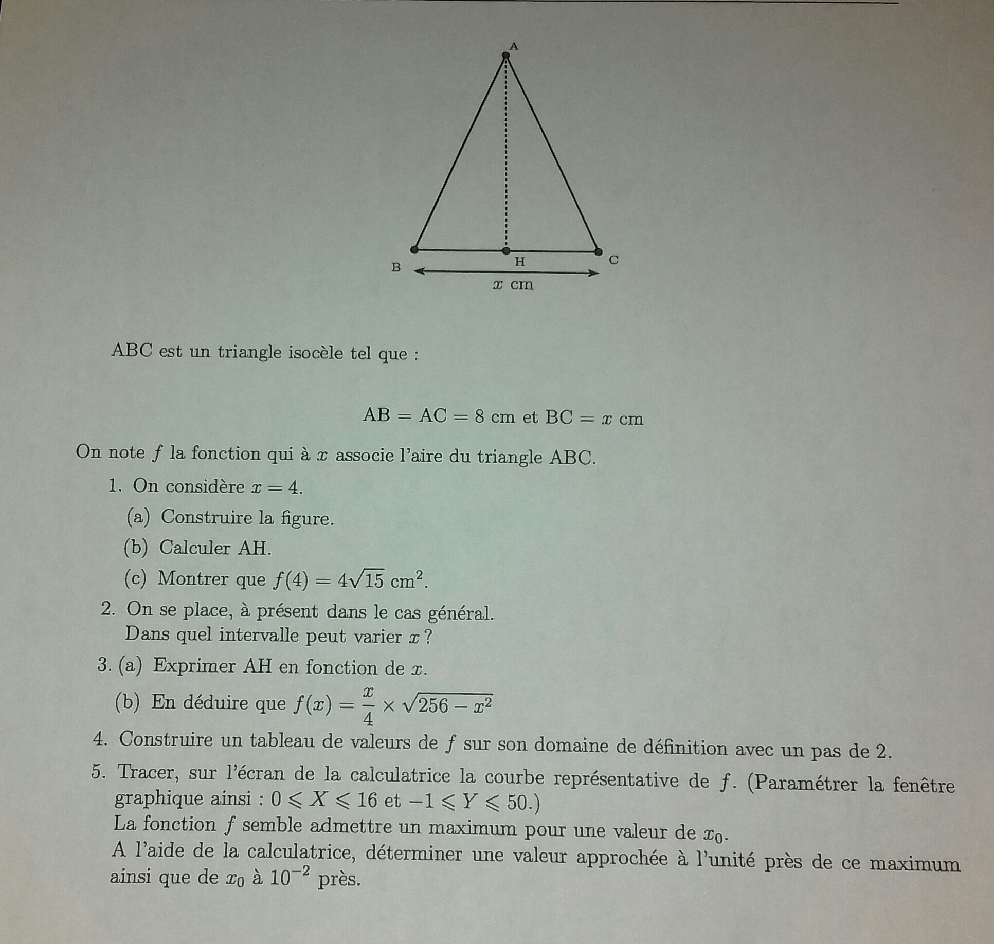 Bonsoir Je Rencontre Des Difficultes Sur Un Dm De Mathematiques Que