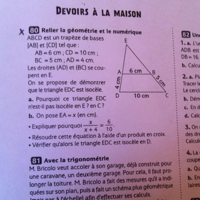 Besoin d aide urgent devoir maison de maths sur thal s et for Aide devoir maison