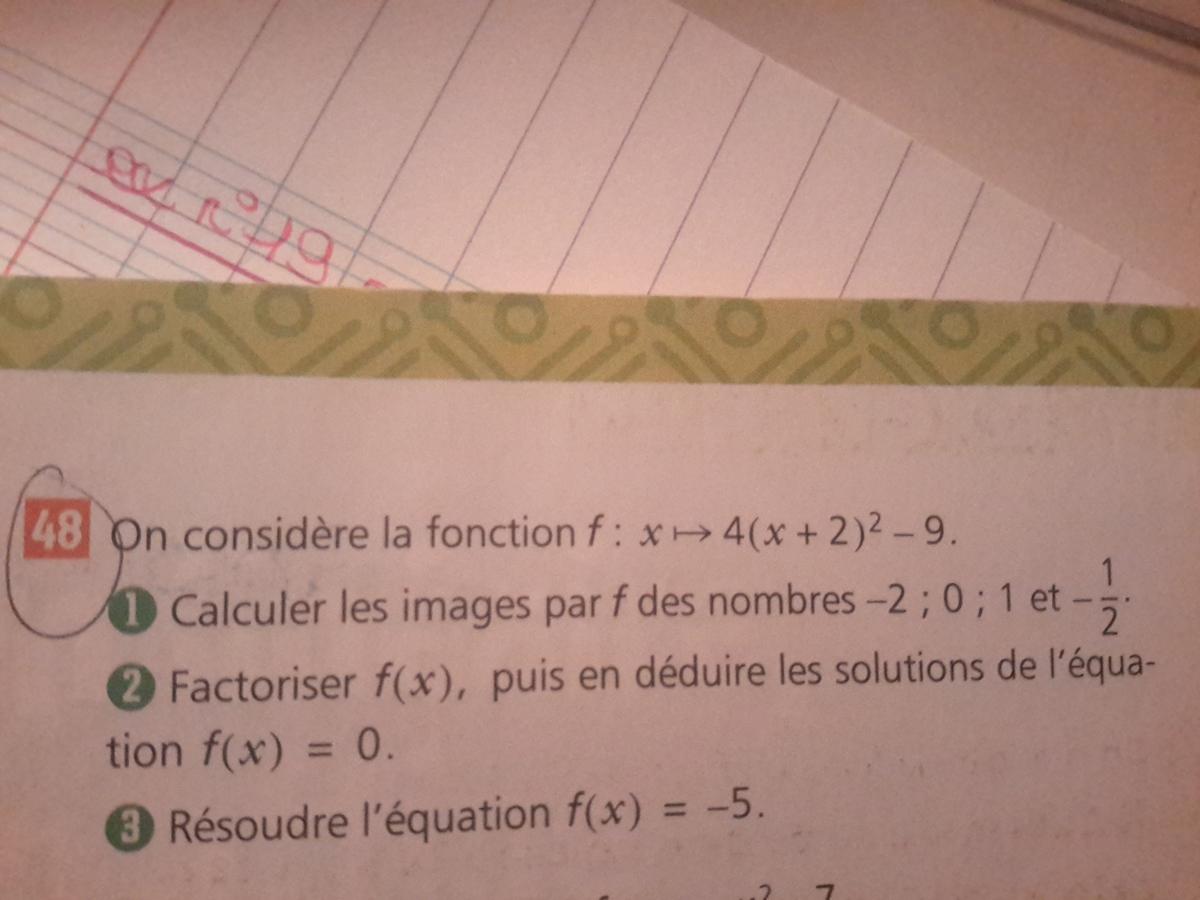 les fonctions aidez moi svp c'es pour demain 2nde Mathématiques