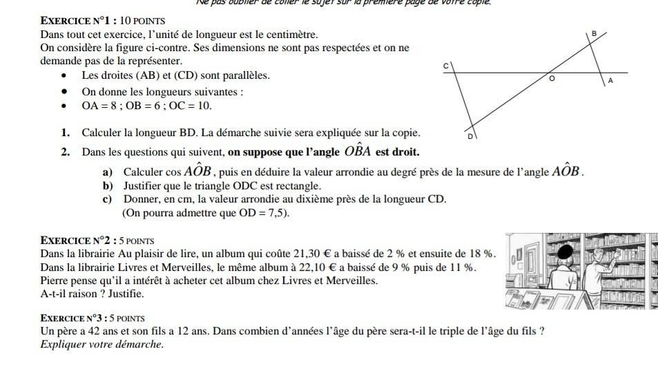 MATHS DM URGENT 3ème Mathématiques