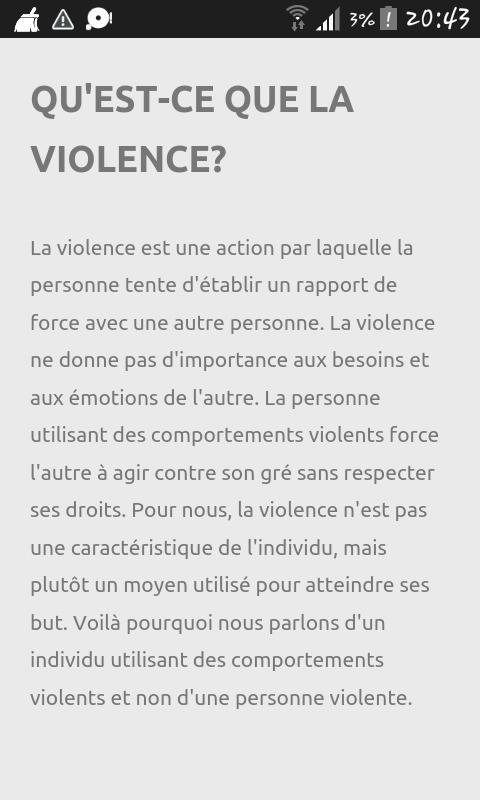 paragraphe sur la violence
