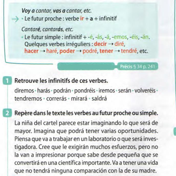 Bonjour J Ai Besoin D Aide Pour Deux Exercices En Espagnol C Est L Exercice 1 Et 2 Vous Avez Une Nosdevoirs Fr