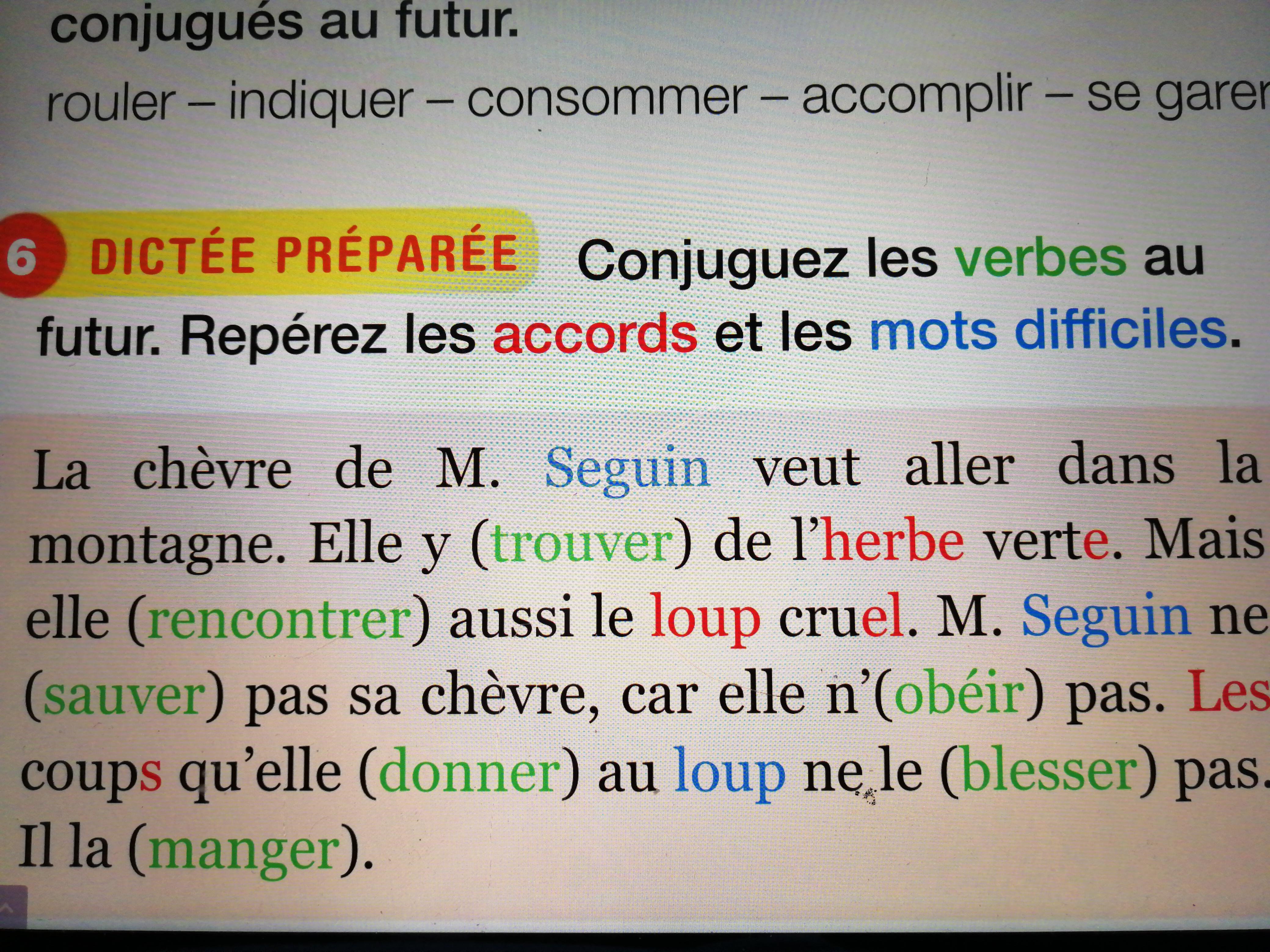 Bonjour Est Ce Que Vous Pouvez M Aider Conjuguer Les Verbes Au Futur Repeter Les Accords Et Les Nosdevoirs Fr