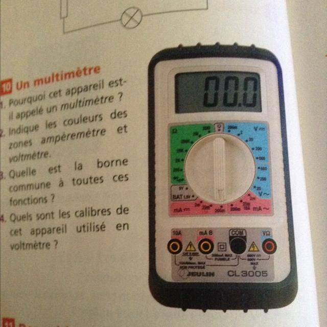 1 pourquoi cet appareil est il appeler un multim tre 2 for Fonction d un multimetre