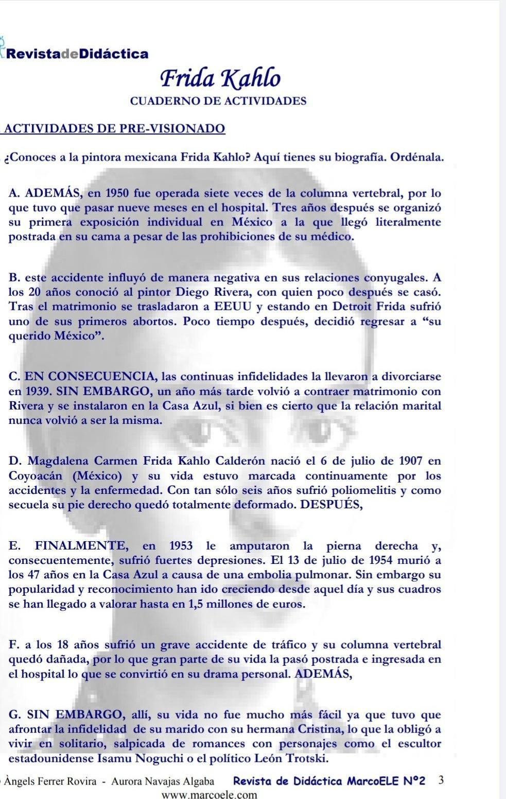 Bjr Qui Peux M Aider En Espagnol Reliez La Biographie Aux Tableaux L Ordre Est D F B A C G E Nosdevoirs Fr