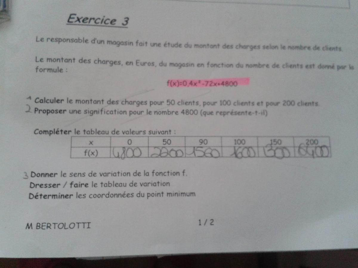 Je n'arrive pas à donner le sens de variation de la fonction F ... - Nosdevoirs.fr