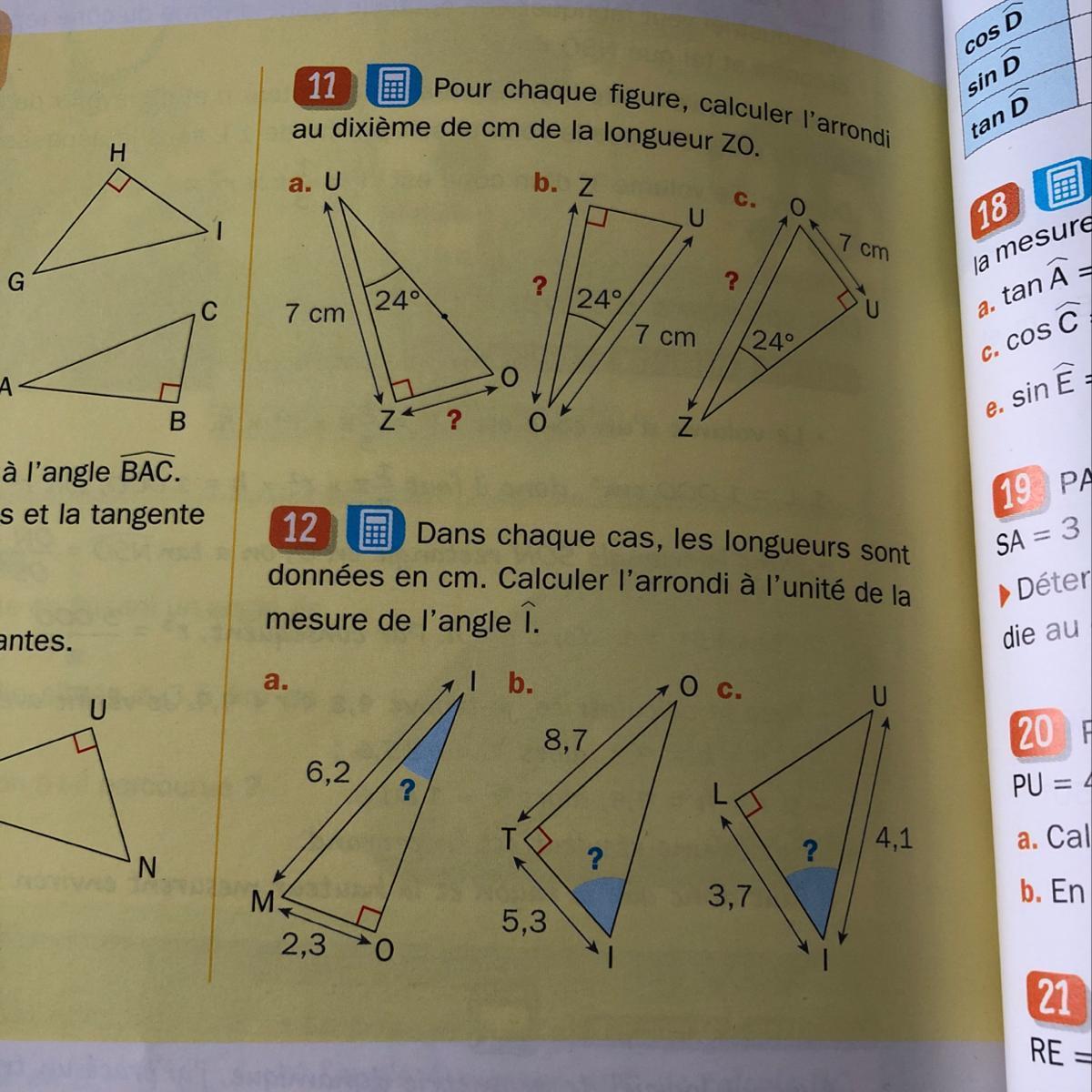 Coucou! j'ai fait des exercices sur la trigonométrie pour ...