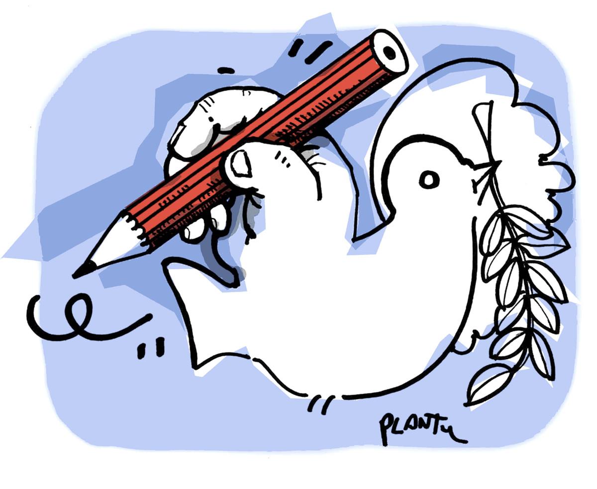 Bonjour devoir de fran ais sur la colombe de plantu d crivez le plus pr cis ment possible ce - Dessin sur la paix ...
