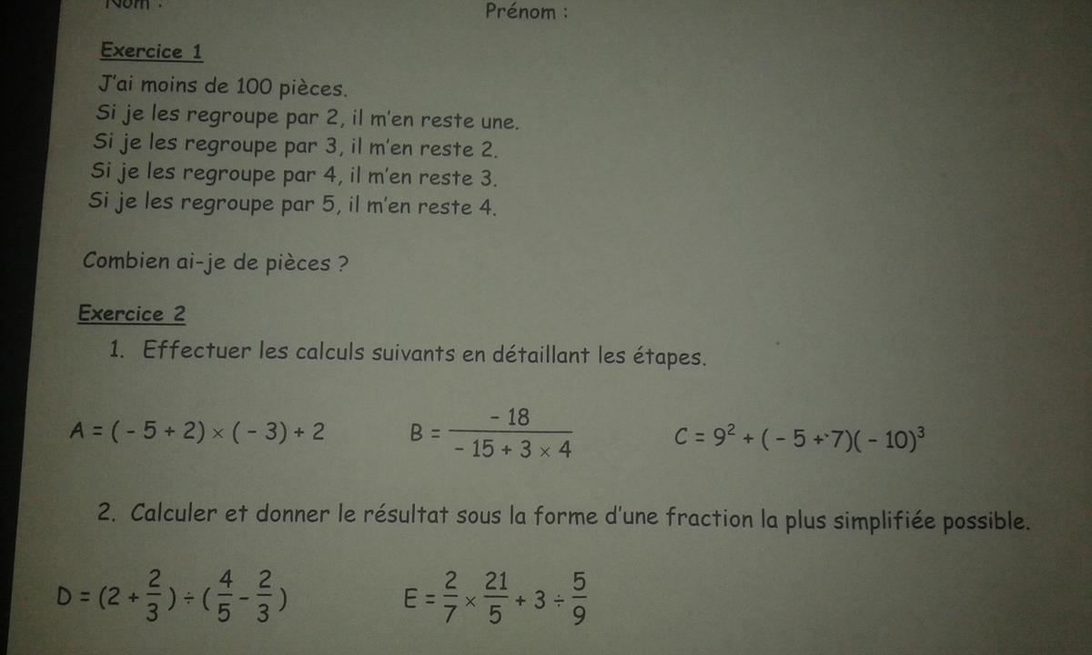 dm de maths 3eme