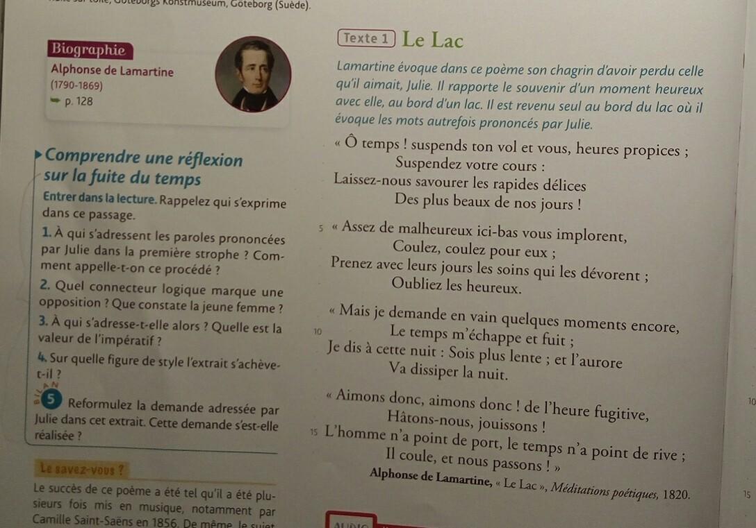 Le Lyrisme Le Lac Lamartine Question 1 à 4 Svp Nosdevoirsfr