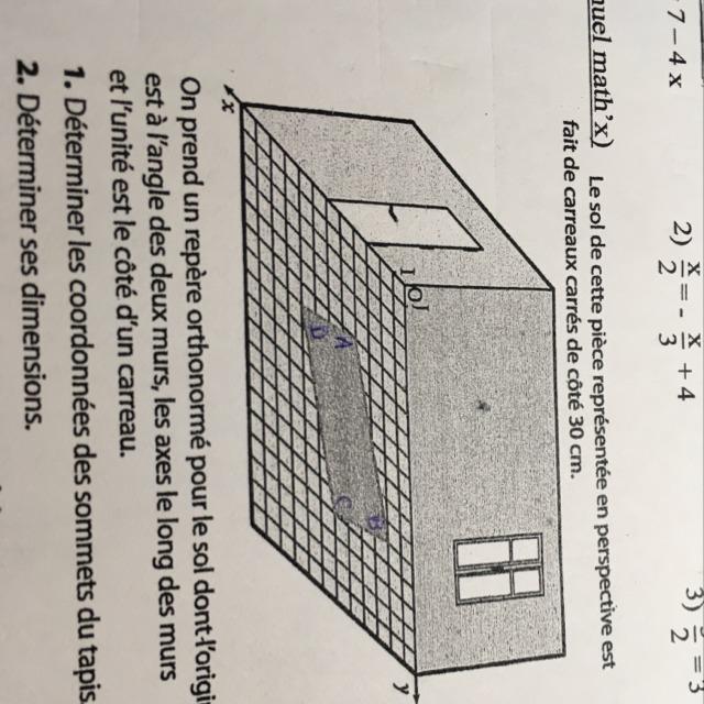 pouvez vous m'aider pour la question 1 es-ce la longueur x