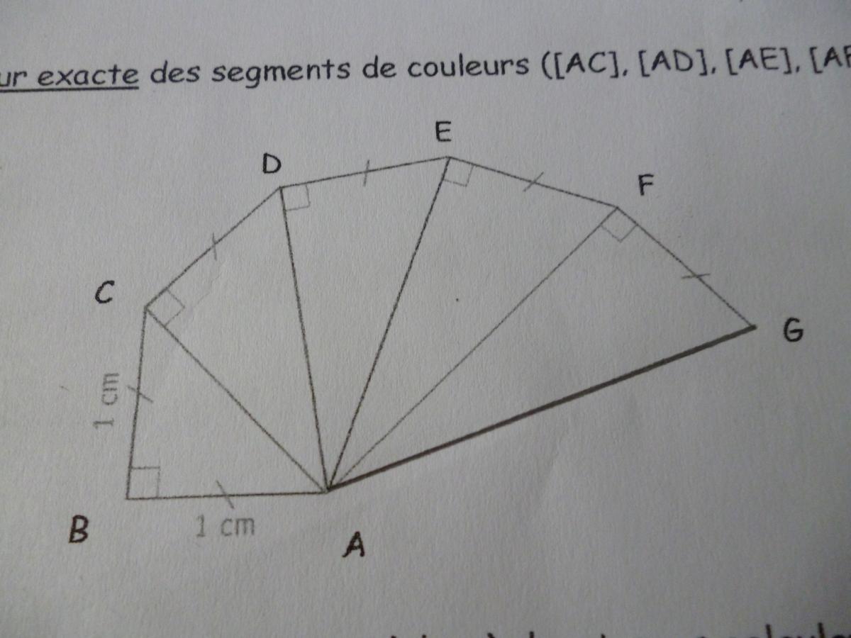 La figure est en pi ce jointe 1 calculer la longueur exacte des segments ac ad ae - Calculer des metre carre ...