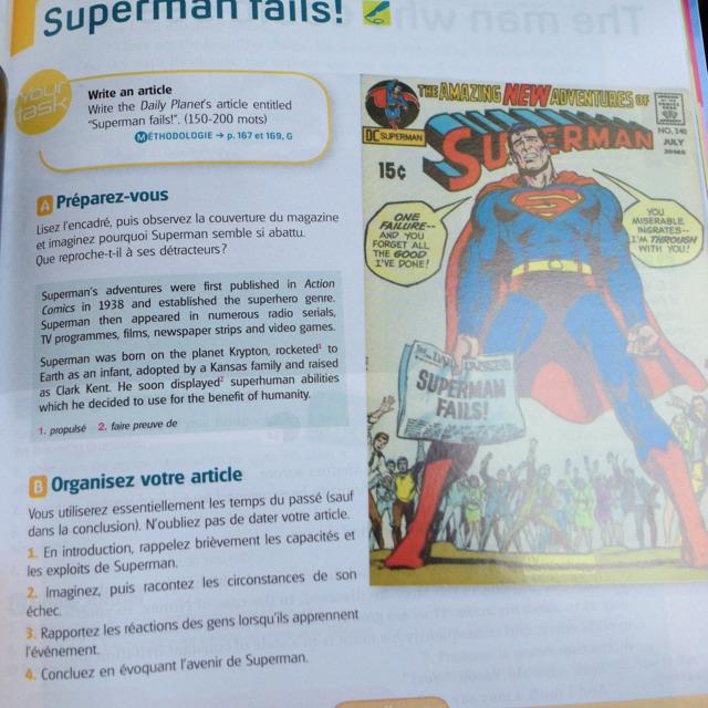 salut j 39 ai besoin d 39 aide en anglais il fait faire un article sur superman fails enfin j 39 ai pas. Black Bedroom Furniture Sets. Home Design Ideas