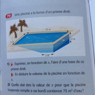 Une piscine la forme d 39 un prisme droit 1 a exprimer en - Calculer le volume d une piscine ...