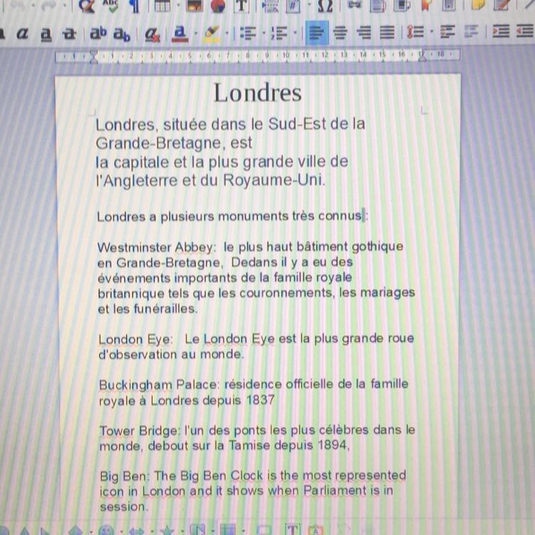 Bonjour J Ai Un Expose Sur Londres A Faire Et J Ai Plus D Idee J