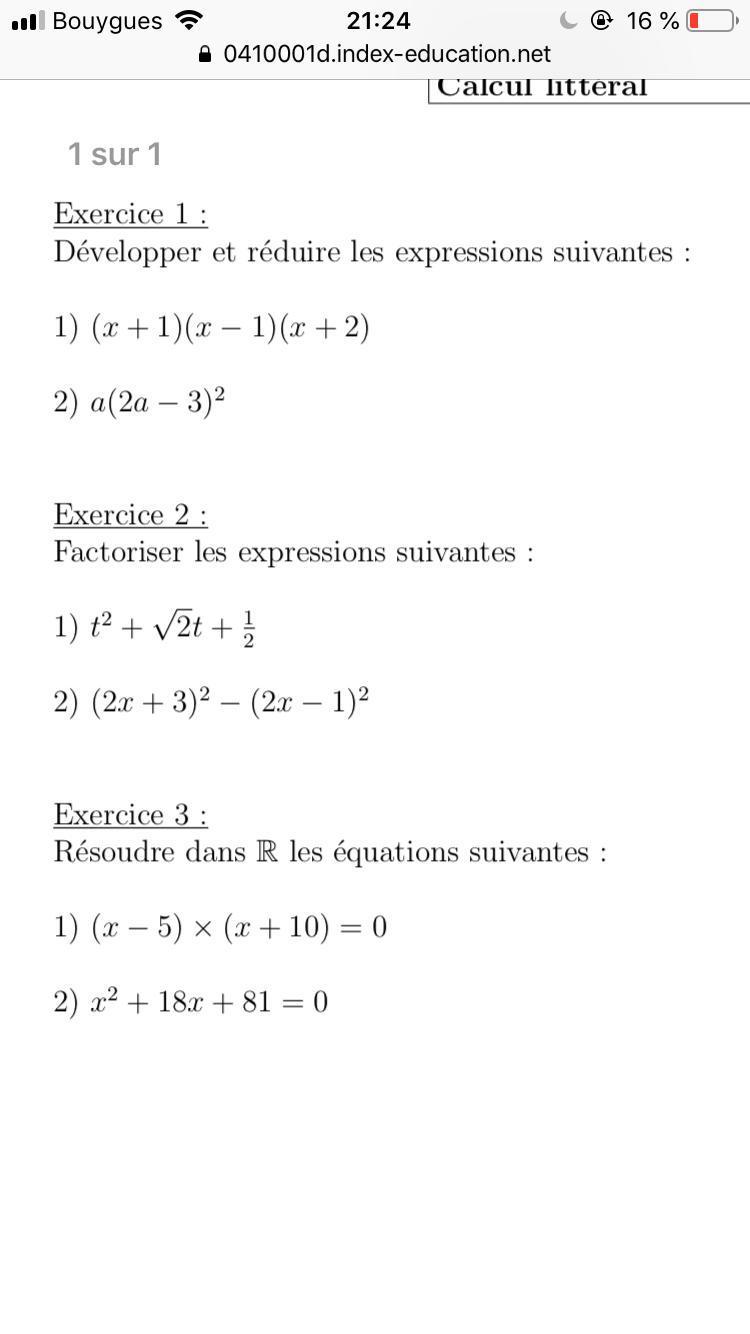 Niveau Seconde Mathematiques Bonjour Je N Arrive Pas A Factoriser Ses Deux Expression T 2 Nosdevoirs Fr