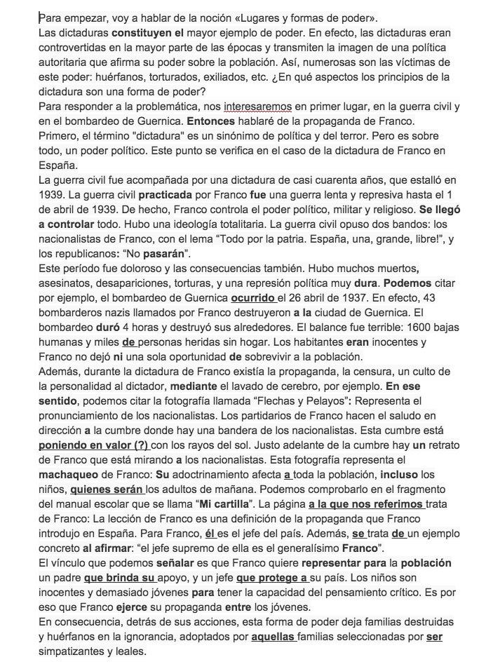 notion espagnol lugares y formas de poder