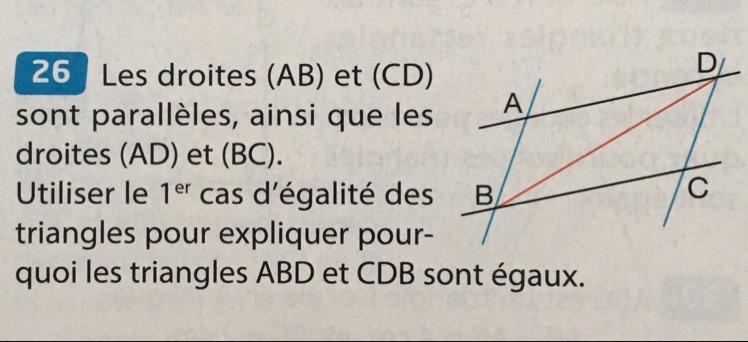 Les Droites Ab Et Cd Sont Paralleles Ainsi Que Les Droites Ad Et Bc Utiliser Le 1er Cas Nosdevoirs Fr