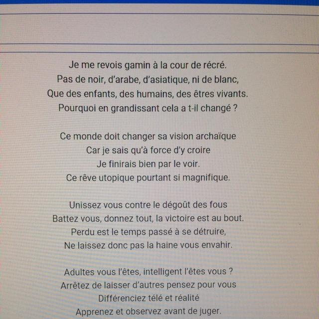 Bonsoir Je Dois Ecrire Un Poeme En Vers Libre Sur Le Racisme