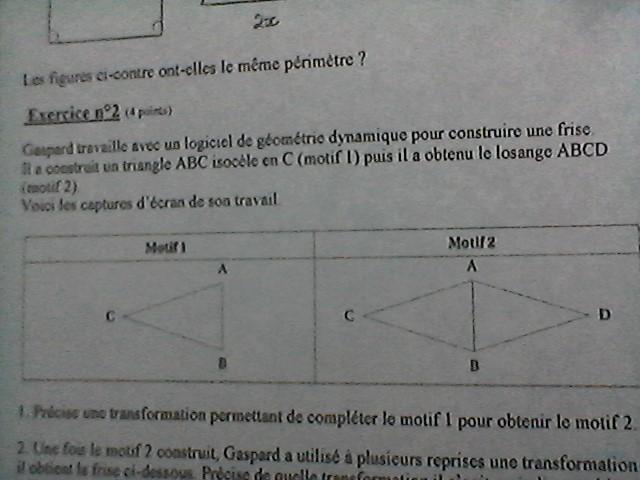 Bonjour A Tous J Ai Un Dm De Maths A Rendre Sur La Geometrie Symetrie Gaspard Travaille Avec Un Nosdevoirs Fr