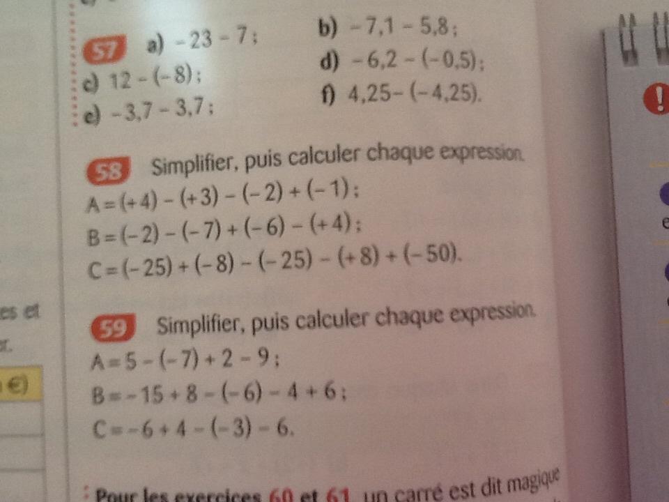 Bonjour exercices de maths 5eme pouvais m'aider avec les étapes de calculs merci c pour l ...