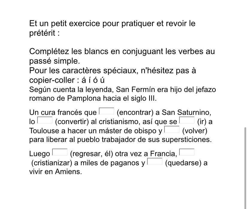 Bonjour Pouvez Vous M Aider Pour Ce Petit Exercice En Espagnol Il Faut Mettre Des Verbes Au Passe Nosdevoirs Fr