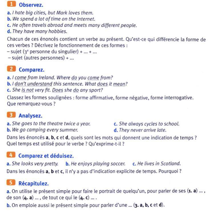 Bonjour J Ai 5 Petits Exo En Anglais Sur Le Present Simple Je Cherche De L Aide Merci D Avance Nosdevoirs Fr