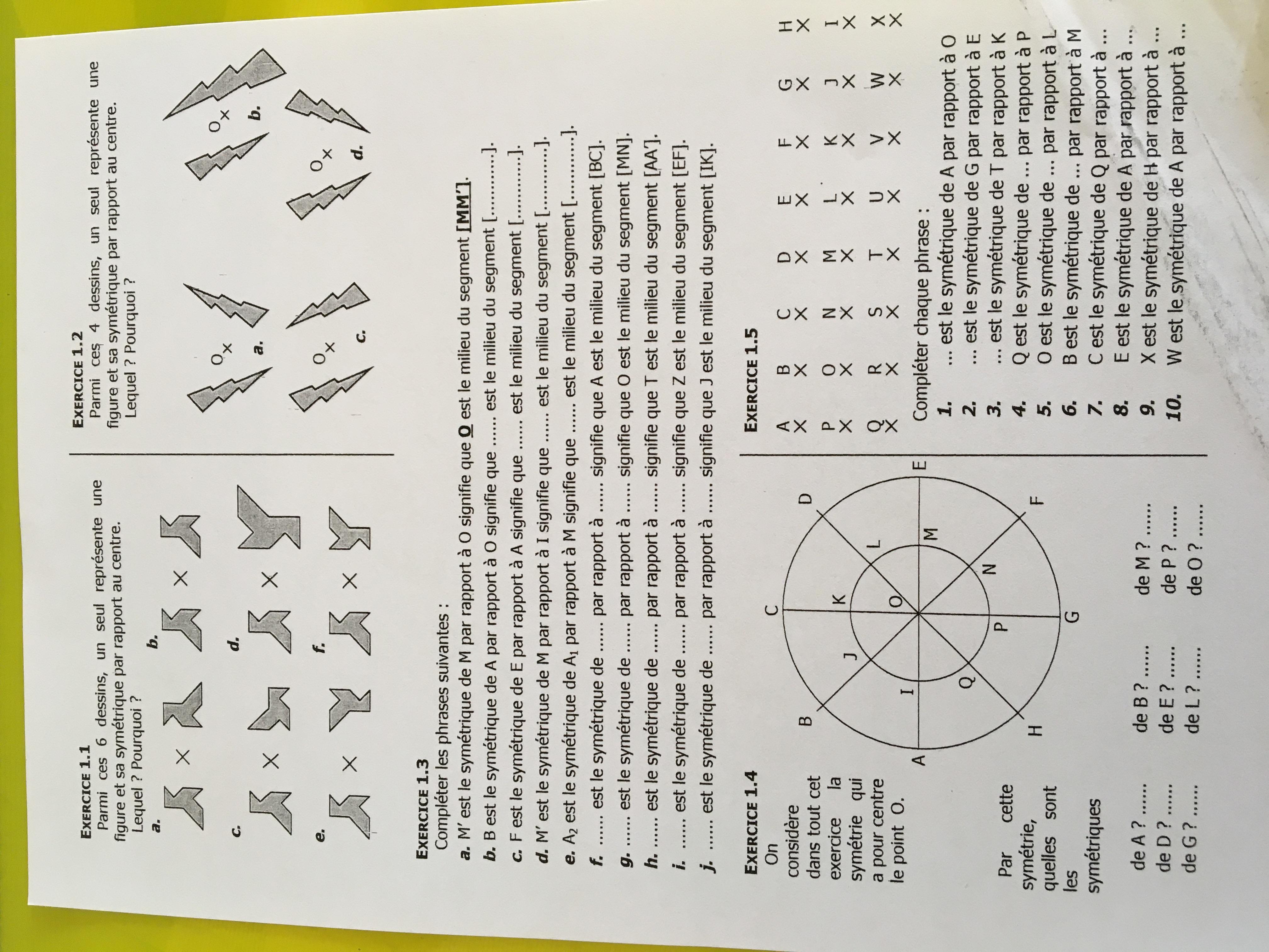 Devoir Maison Maths 5ème Symétrie Centrale | Ventana Blog