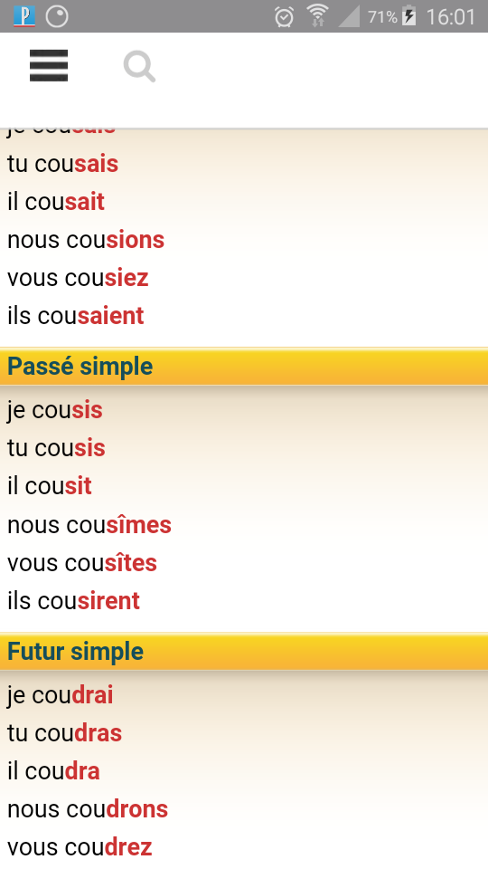 comment se conjugue le verbe coudre au pass simple