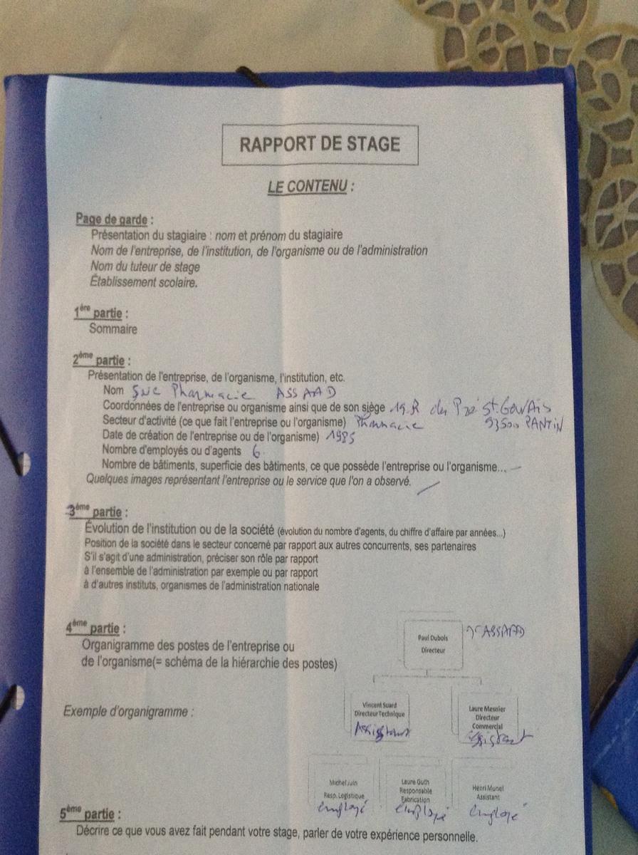 Bonjour J Ai Fait Mon Rapport De Stage Dans Une Pharmacie Et