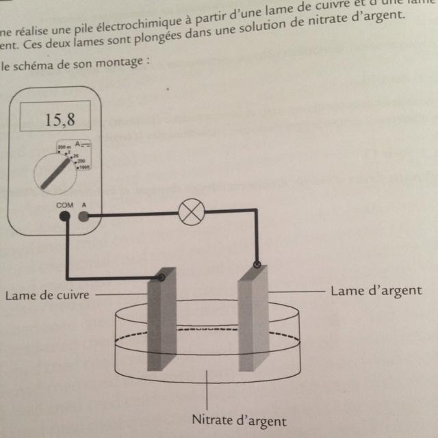 Adeline Realise Une Pile Electrochimique A Partir D Une Lame De Cuivre Est Une Lame D Argent Ces Nosdevoirs Fr